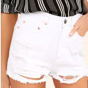 LuLu's • Caffeine | White Distressed Denim Shorts